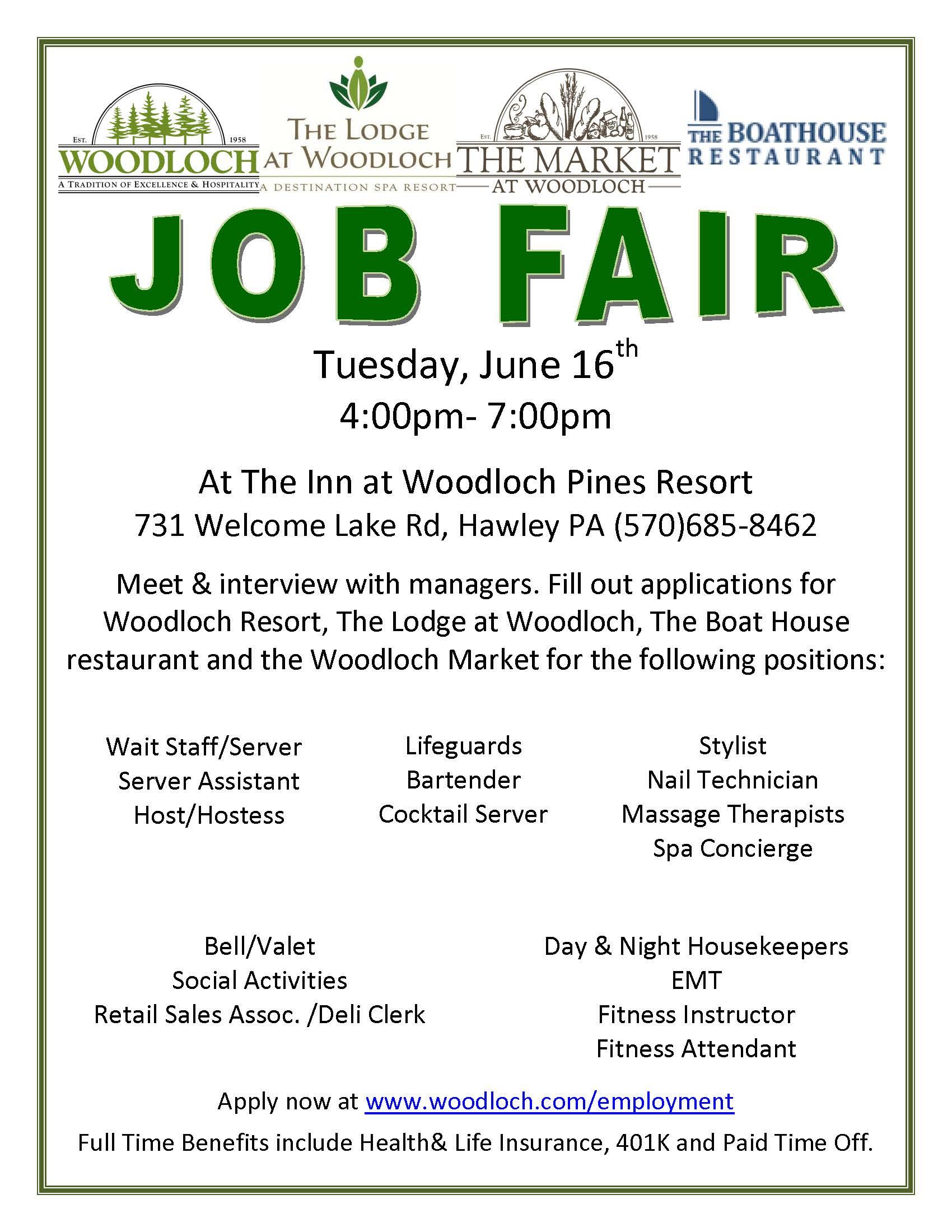 Woodloch Job Fair June 16th The Inn At Woodloch Pines