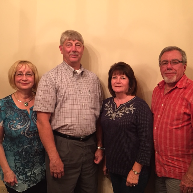 """The Big Pocono Ski Club is a """"four seasons of fun club"""" which promotes biking, golfing, hiking, kayaking, tennis, and numerous social events. Join by contacting Lillian Lasher, Club Membership Chair, at lillianlasher@gmail.com or 570-629-1323. Newly elected officers (left to right): Lillian Lasher, Corresponding Secretary, Roger Appleton, President, Chris Bushta, Recording Secretary, and Steve Pace, Treasurer.  Carolyn Pace, Vice President, absent."""