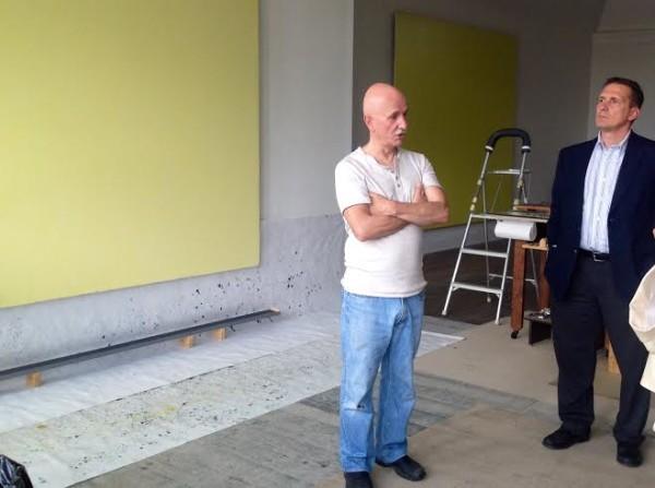 Joseph Marioni, left, Micah Gursky right in Marioni's Tamaqua Studio