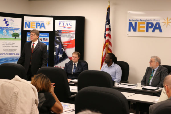 Pictured from left:  Norm Gavlick, LCTA Executive Director; Frank Knorek, LCTA Compliance Analyst; Kenyon Holley, Diverse Business Supportive Services Center Director; and, Frank Migneco, NEPA Alliance PTAC Government Procurement Manager.