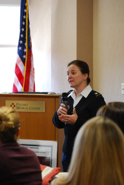 Lieutenant Colonel Laura McHugh at Pocono Medical Center's Veteran's Day Luncheon